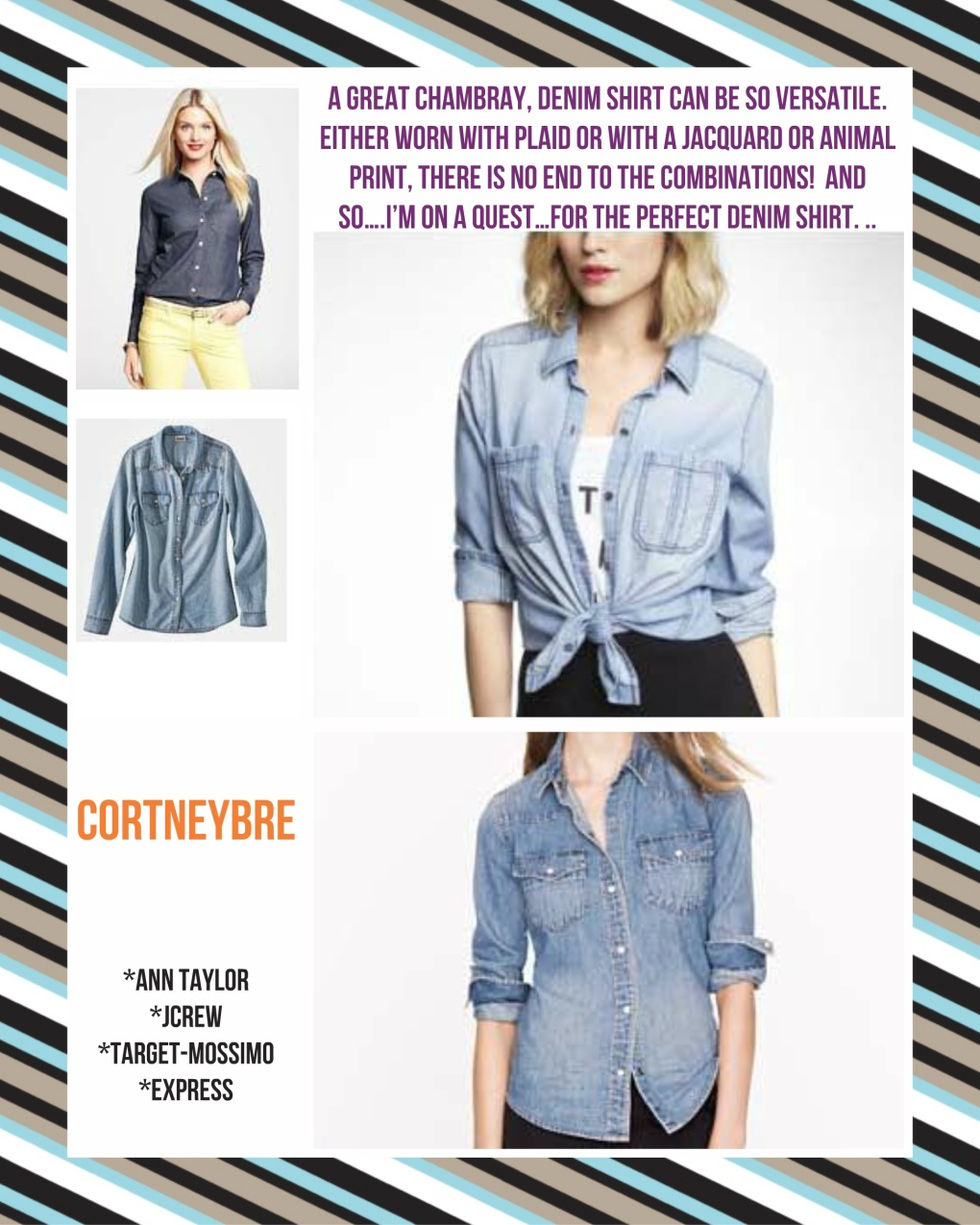 Top left: Ann Taylor Bottom left: Target-Mossimo Top right: Express Bottom right: JCrew