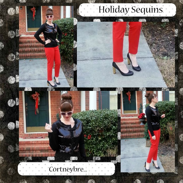 Cardigan: Worthington Pants: Cynthia Rowley Shoes: Kate Spade NY Sunglasses: UnionBay