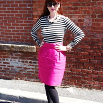 Top: Bisou Bisou Skirt: Kate Spade Heels: Mossimo Necklace/Earrings: Bealles Watch: Kate Spade Shades: Colehaan