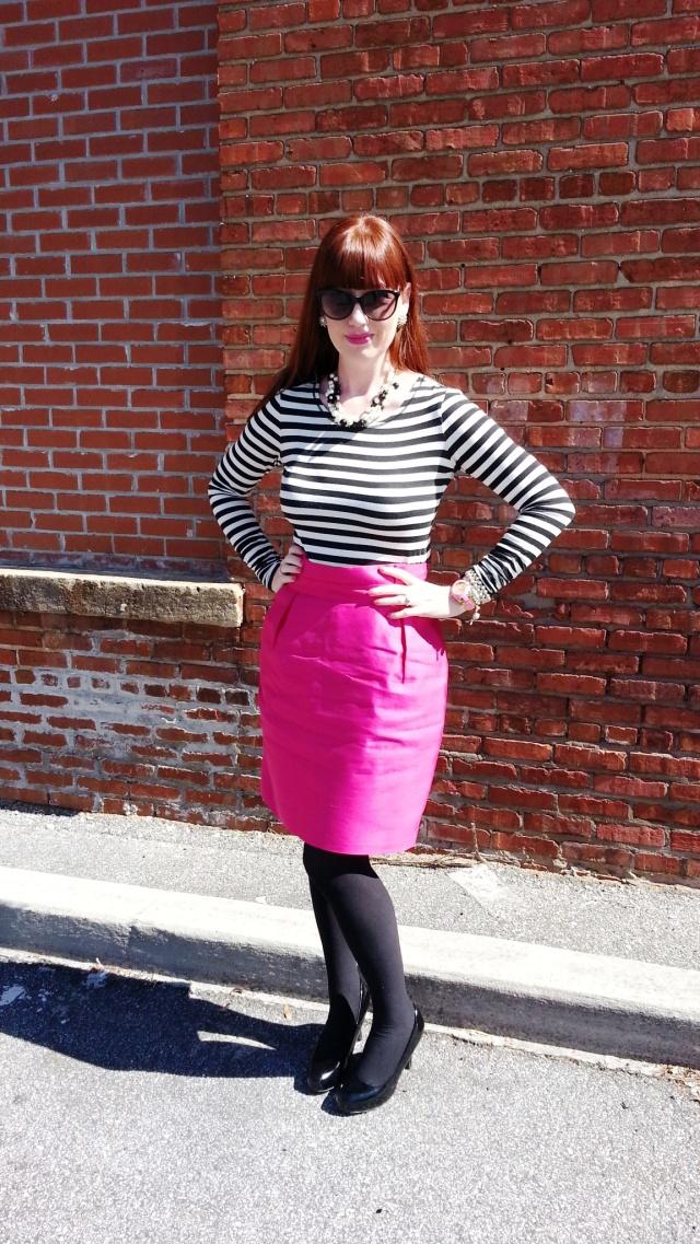 Top: Bisou Bisou Skirt: Kate Spade Heels: Mossimo Necklace/Earrings: Bealles Watch: Kate Spade Shades: Colehaan