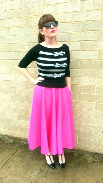 Sweater: Worthington Skirt: ASOS Shoes: Adrienne Vittadini Clutch: Falconwright Earrings: Bealles Sunglasses: Colehaan