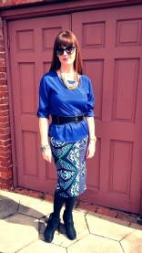 Skirt: Bisou Bisou Blouse: Ann Taylor LOFT Necklace: Lydell NYC Bracelet: Lucky Brand Shoes: Rampage Belt: Express