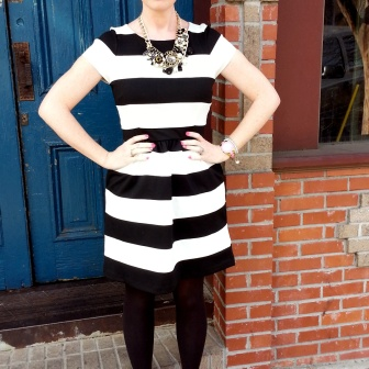 Dress: Elle @ Kohl's Shoes: ASOS Necklace: Charming Charlies Pin on Necklace: Chanel Sunglasses: Colehaan Bracelets: Tahari Watch: Kate Spade NY