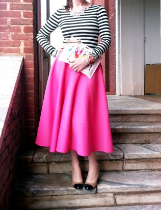 Shoes, Necklace, Clutch, Earrings, Watch: Kate Spade Skirt: ASOS Blouse: Bisou Bisou Bracelets: Bealles