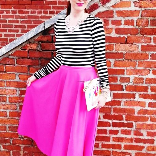 Shoes, Necklace, Clutch, Earrings, Watch: Kate Spade Skirt: ASOS Blouse: Bisou Bisou Bracelets: Bealles