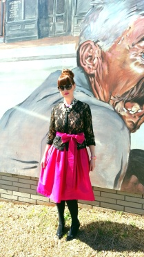 Dress: Celebration Fantastic Jacket: Newport News Watch: Kate Spade Shoes: Adrienne Vittadini Necklaces: JCREW & Bealles Earrings: Bealles Sunglasses: Colehaan