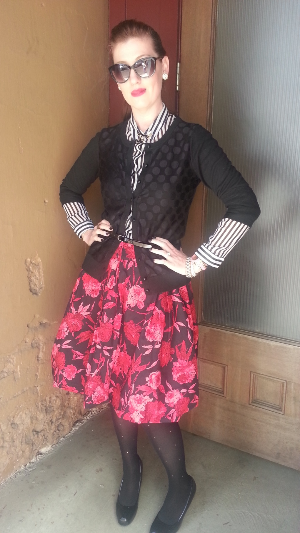 Blouse: Gap Cardigan: Banana Republic Skirt: New York and Co Tights: Merona Shoes: Mossimo Pin: Chanel Watch/Earrings: Kate Spade Sunglasses: Colehaan