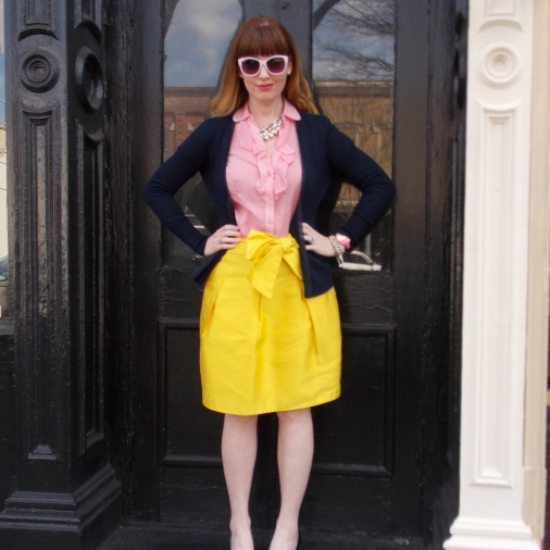 Cardigan: Ann Taylor Blouse: Banana Republic Skirt: Kate Spade Shoes: Mossimo Sunglasses: UnionBay Jewelry: Bealles Watch: Kate Spade