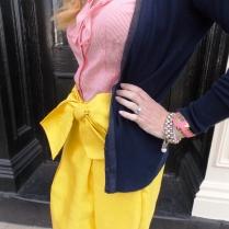 Cardigan: Ann Taylor Blouse: Banana Republic Skirt: Kate Spade Shoes: Mossimo Sunglasses: UnionBay Jewelry: Bealles Watch: Kate Spade