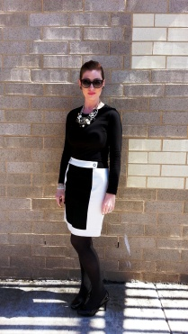 Shirt: Champion Skirt: Ann Klein Shoes: Mossimo Bracelets: Bealles Necklace: Charming Charlies with added Chanel Pin Earrings: Kate Spade Sunglasses: Colehaan