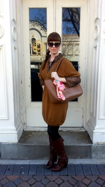 Dress: To the Max Blouse: Banana Republic Boots: Nine West Bag: Kate Spade NY Scarf: Collection Eighteen Jewelry: Monet Sunglasses: Colehaan