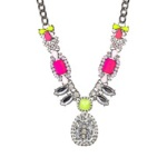 Antique Brooch Neon Deco Necklace
