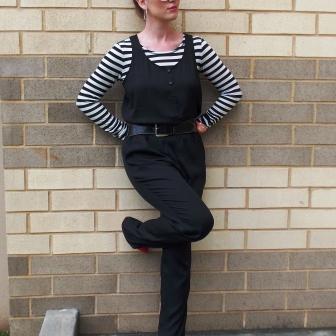Jumpsuit: Loft Shirt: Bisou, Bisou Shoes: ASOS Sunglasses: UnionBay Earrings: Chloe+Isabel
