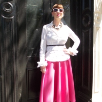 Skirt - ASOS Blouse: BCBG Heels: Kate Spade NY Purse: Louis Vuitton Sunglasses: UnionBay Jewelry: Bealles