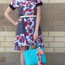 Dress: Peter Pilotto for Target Shoes: BCBG Bag: Kate Spade Scarf: CollectionEighteen Sunglasses: UnionBay
