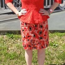 Top: Cynthia Rowley Skirt: Ann Taylor LOFT Heels: Cole Haan Necklace: JCrew