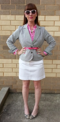 Jacket: Sandro Blouse: RedCamel Skirt: JCREW Shoes: Isaac Mizrahi Belt: Kate Spade Watch: Kate Spade Sunglasses: UnionBay