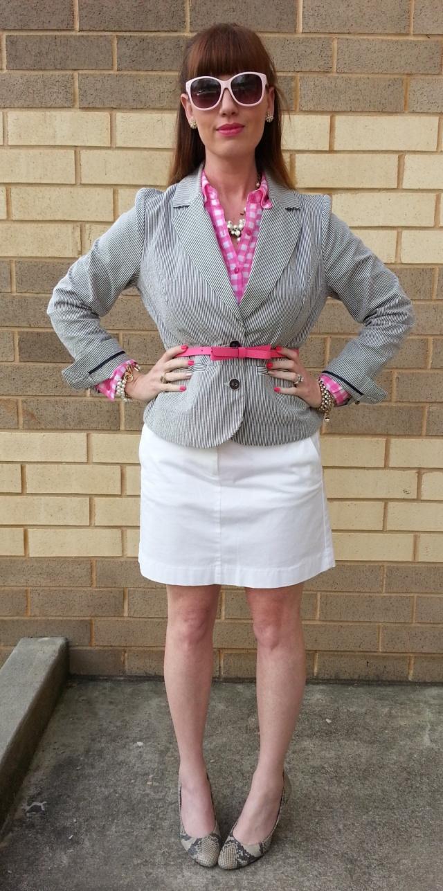 Jacket: Sandro Blouse: RedCamel Skirt: JCREW Shoes: Isaac Mizrahi Belt: Kate Spade Watch: Kate Spade Sunglasses: UnionBay