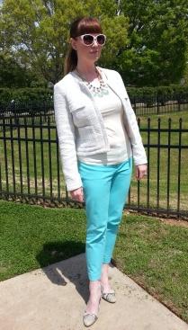 Necklace: Nara @Bealles Jacket: Valerie Bertinelli Pants: Cynthia Rowley Heels: Isaac Mizrahi Sunglasses: UnionBay
