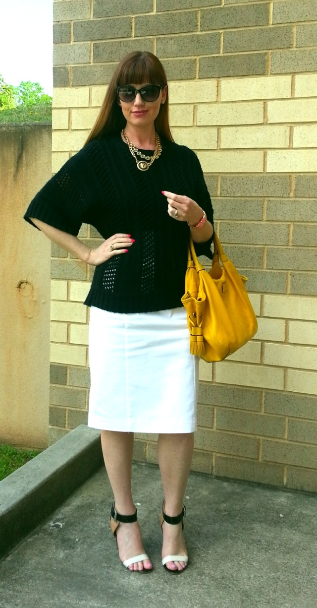 Sweater: Mossimo Blouse: Banana Republic Skirt: Worthington Shoes: Calvin Klein Purse: Kate Spade