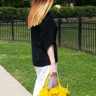 Sweater: Mossimo Blouse: Banana Republic Skirt: Worthington Shoes: Calvin Klein Purse: Kate Spade