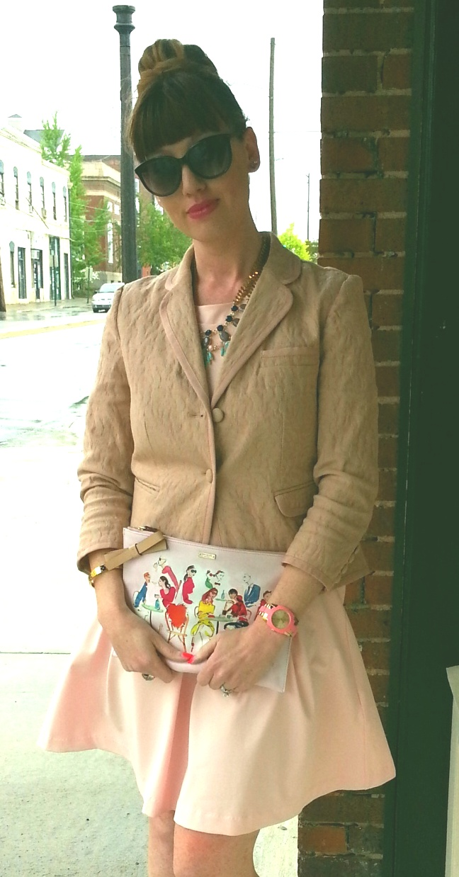 Jacket: Simply Vera Wang Dress: Cynthia Rowley Clutch: Kate Spade Shoes: ASOS-Your Feet Look Gorgeous Necklace: Bealles Watch: Kate Spade Bangle: Kate Spade Sunglasses: 9 West
