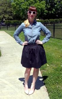 Shirt: Worthington - JC Penney Skirt: Banana Republic Shoes: MIA Earrings: Bealles