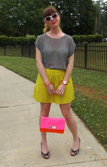 Skirt: JCREW Blouse: Gap Shoes: Rampage Watch/Bracelet: Kate Spade Bag: Kate Spade Earrings: Bealles