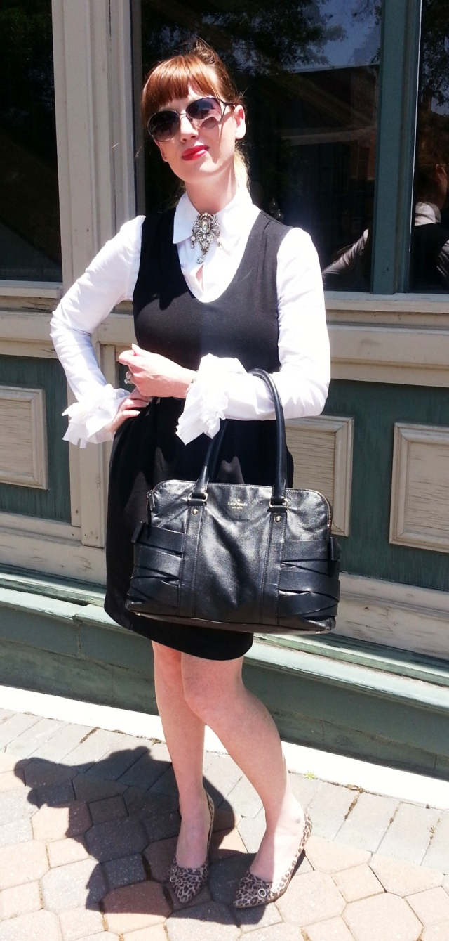 Brooch: Hobby Lobby Blouse: BCBG Romper: Gap Shoes: Kathy Van Zeeland