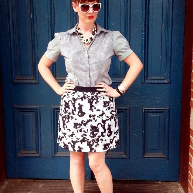 Blouse: Gap Skirt: Ann Taylor Shoes: Mossimo Necklaces: Bealles Sunglasses: UnionBay