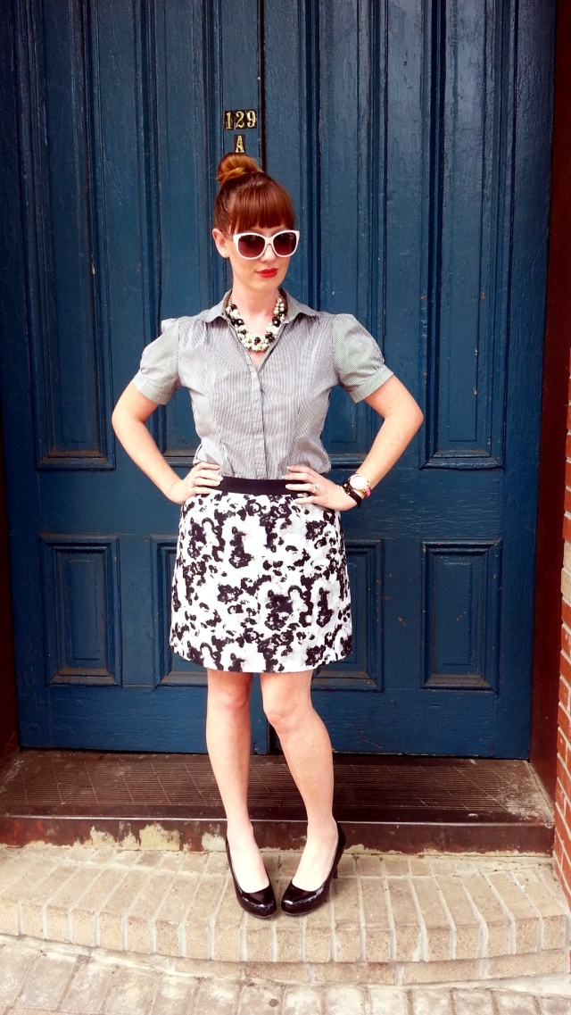 Blouse: Gap Skirt: Ann Taylor Shoes: Mossimo Necklaces: Bealles Sunglasses: UnionBay