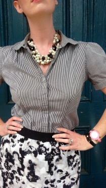 Blouse: Gap Skirt: Ann Taylor Shoes: Mossimo Necklaces: Bealles Sunglasses: UnionBay Watch: Kate Spade