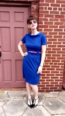 Dress: Donna Morgan Belt: JCREW Heels: Adrienne Vittadini Earrings: Bealles