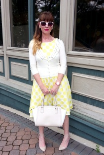Dress: Ann Taylor LOFT Shoes: MIA Bag: Kate Spade NY Earrings: Bealles Sunnies: Union Bay Cardigan: Wet Seal