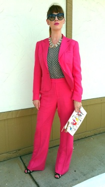 Necklace: Cara Jacket/pants: Ralph Lauren Blouse: Gap Sunnies: Franco Sarto Heels: Rampage Watch/Clutch: Kate Spade NY