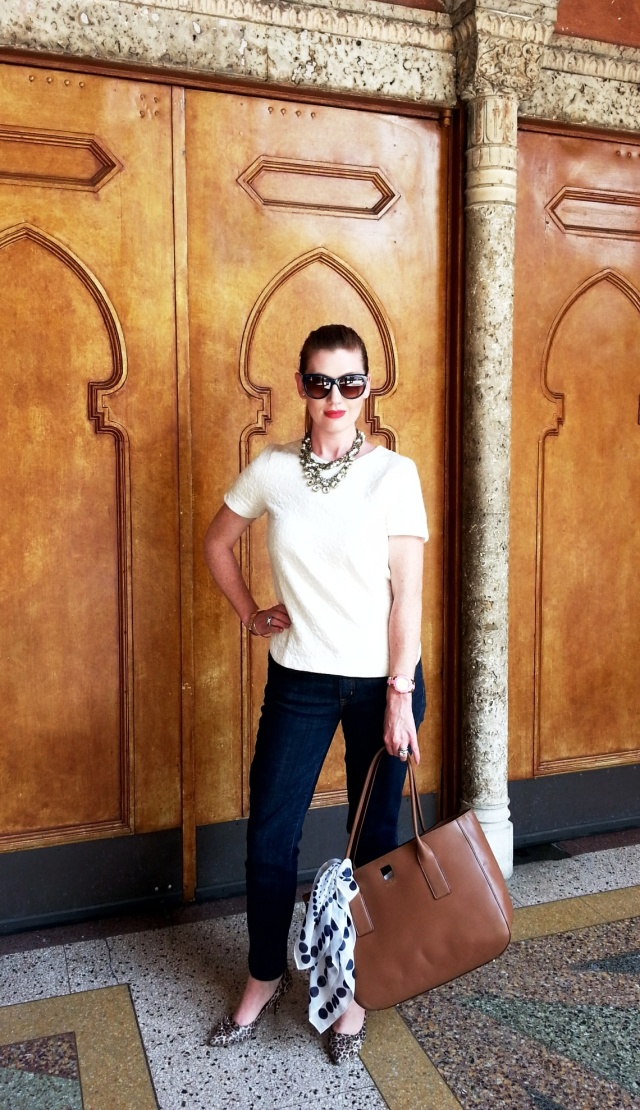Jeans/Blouse: JCREW Necklace: Chloe+Isobel Sunnies: Franco Sarto Watch/Bracelet/Bag: Kate Spade Heels: Kathy Van Zeeland
