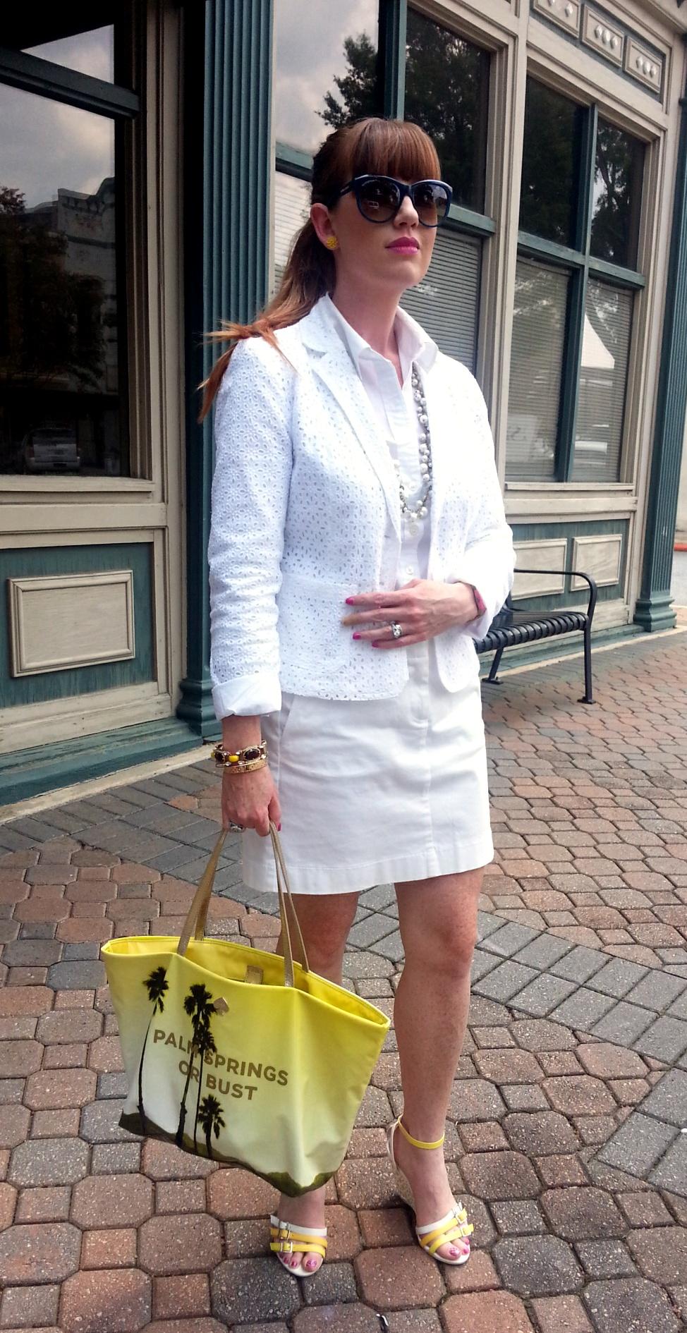 Jacket: Cynthia Rowley Blouse: Gap Skirt: JCREW Shoes: Madison @ShoeDazzle.com Necklace: Chloe+Isobel Earrings: Bealles Watch & Bag: Kate Spade NY