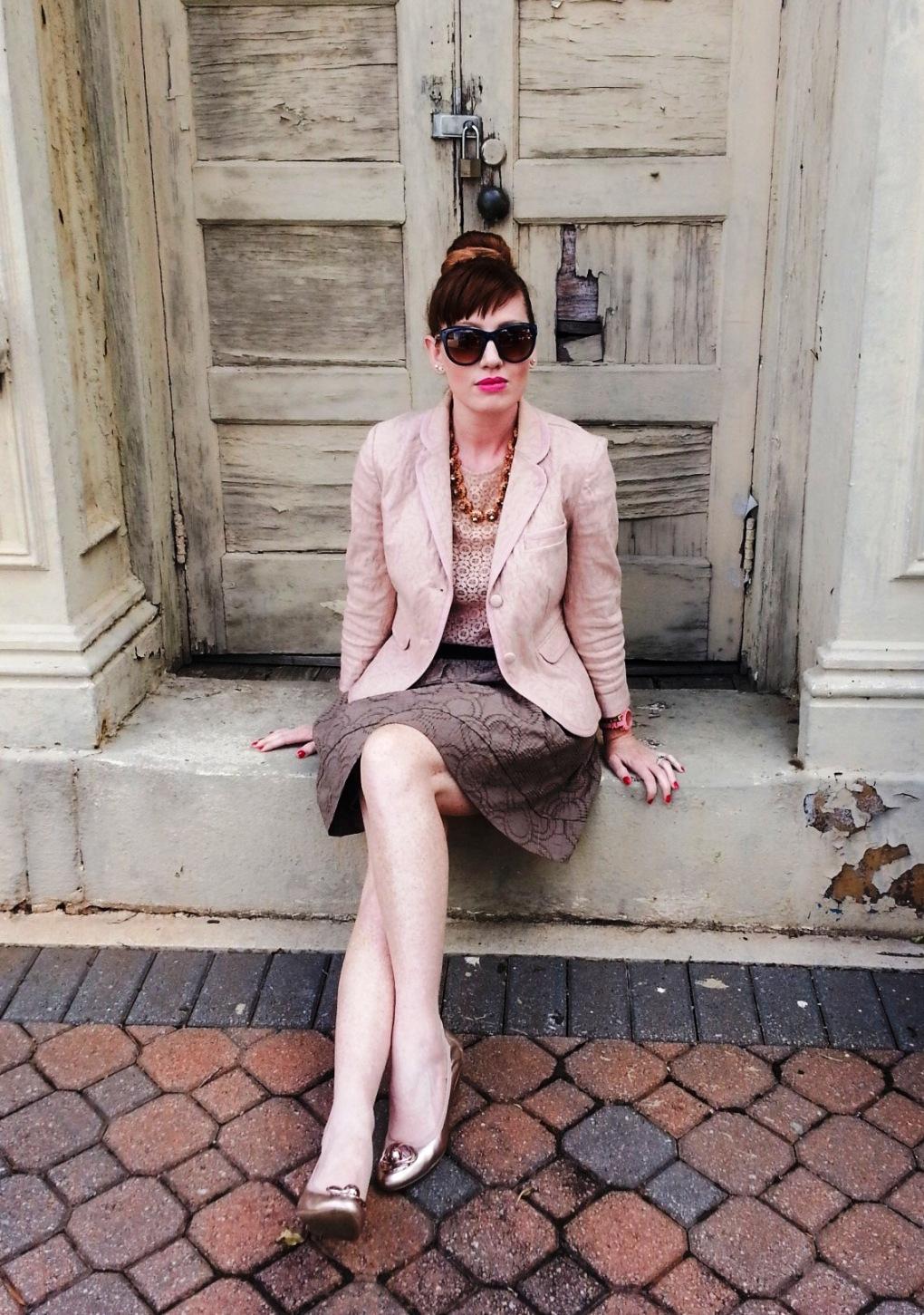 Jacket and Skirt: Simply Vera by Vera Wang Blouse: Ann Taylor  Shoes: Franco Sarto Bag: Kate Spade Necklace: JCREW Sunnies: Franco Sarto