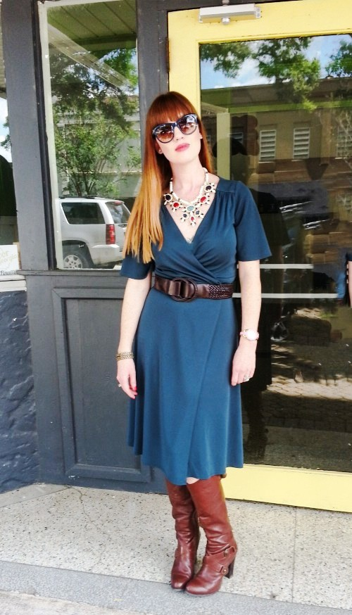 Dress: LOFT Boots: NineWest Bag: Kate Spade Necklace: Bealles Belt: Gap Sunnies: Franco Sarto