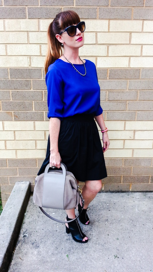 Shoes: BCBG Skirt: Banana Republic Blouse: Ann Taylor LOFT Necklace: Bealles Bag: Kate Spade Saturday Sunnies: Franco Sarto