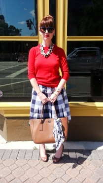 Skirt: Boden Sweater: JCREW Shoes: Ralph Lauren Bag: Kate Spade NY Necklaces: JCREW Sunnies: Franco Sarto