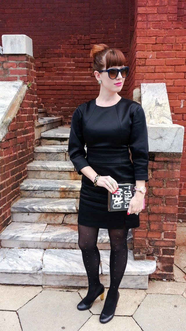 Dress: Kate Spade Saturday Shoes and Clutch: Kate Spade NY Tights: Merona Glasses: Franco Sarto Bracelet/earrings: Bealles