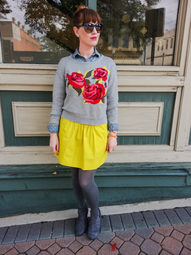 Sweater: Arizona@JC Penney Shirt: Worthington Skirt: JCREW Hose: Merona Boots: Nine West Sunnies: Franco Sarto Jewelry: JCREW