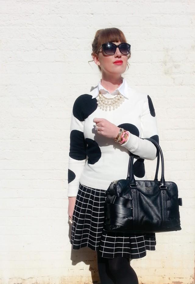 Sweater and Skirt: Grace Elements at BELK  Bag: Kate Spade NY Sunnies: Franco Sarto Heels: Nine West Watch/Bangle: Kate Spade NY