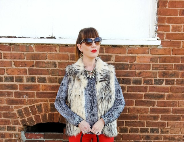 Vest: Bedford Cottage Blouse and Pants: Cynthia Rowley Sunnies: Guess Earrings: Tahari Boots: Tahari Necklace: Chloe+Isabel