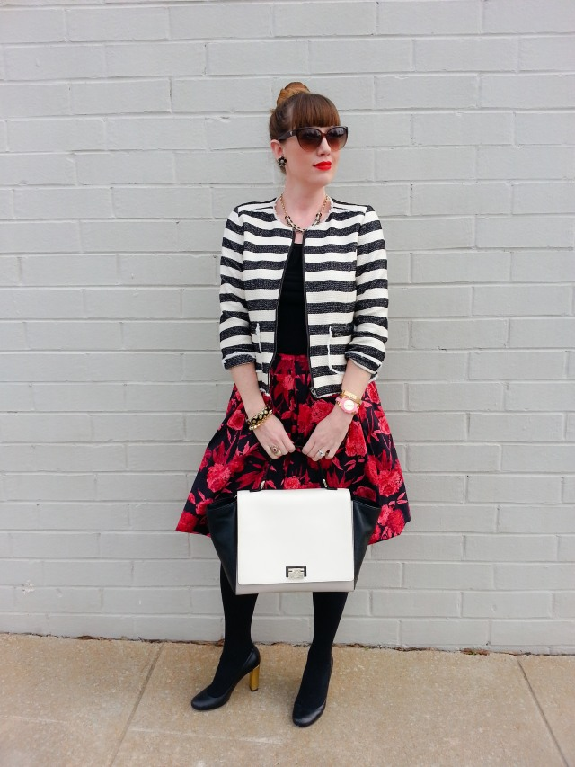 Jacket: Crown & Ivy/Belk Skirt: NY & Co Bag: Kate Spade NY Heels: Kate Spade NY