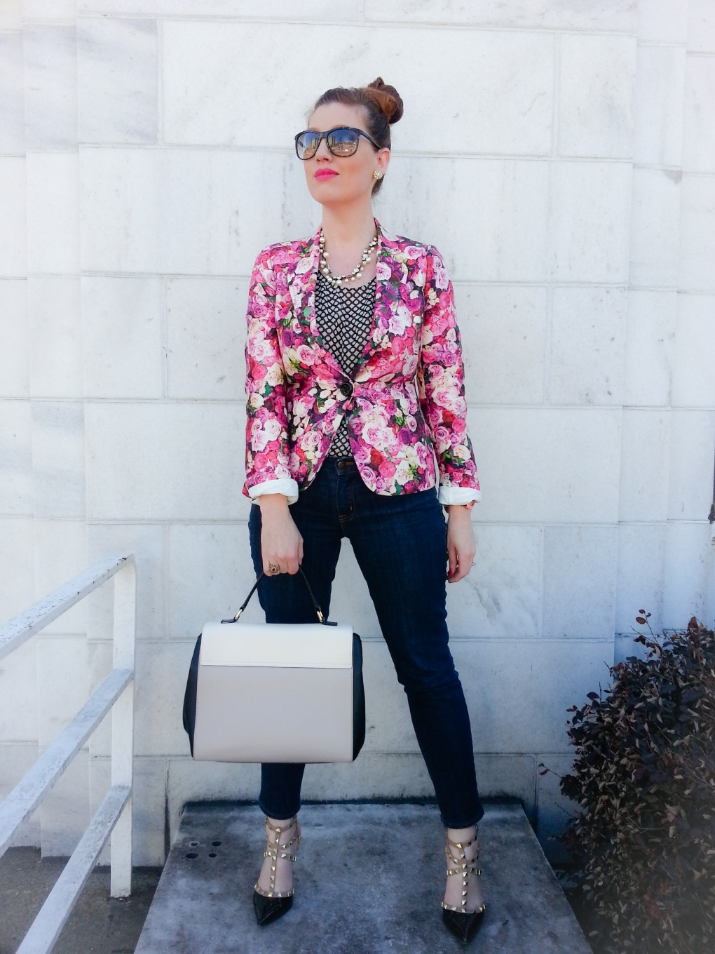 Jacket: Kate Spade NY Blouse: GAP Jeans: JCREW Bag: Kate Spade NY Heels: BCBGeneration