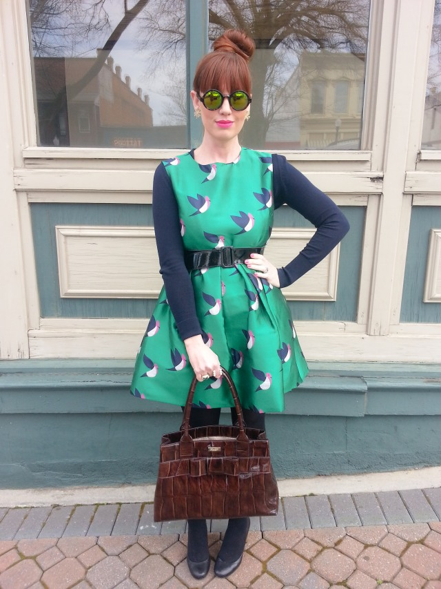 Dress: Chic Wish Bag: Kate Spade NY Blouse: LOFT Sunglasses: Isaac Mizrahi