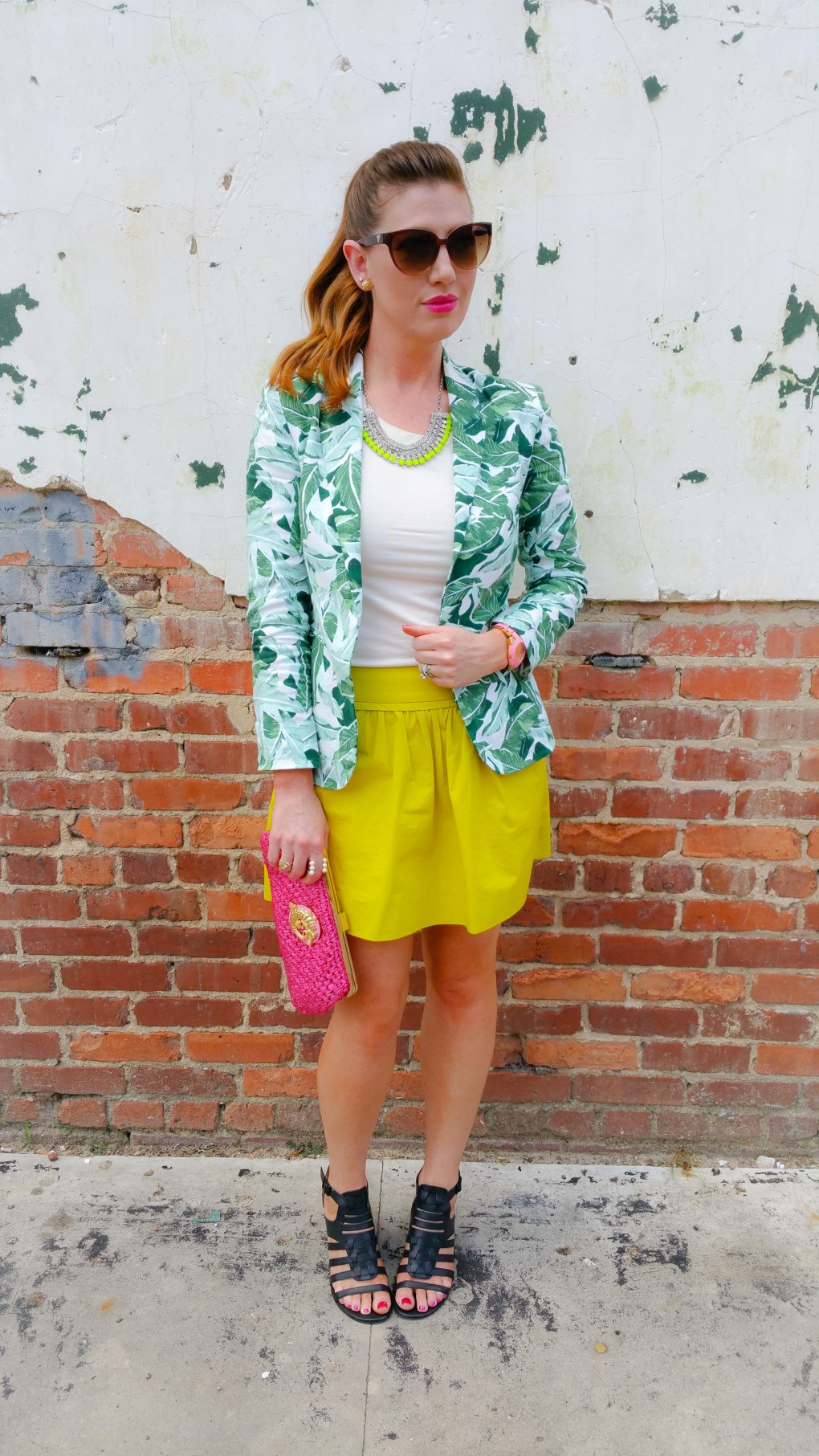 Jacket: Joie Blouse: Banana Republic Skirt: JCREW Shoes: Kenneth Cole Reaction Sunnies: Guess Bag: Lily Pulitzer